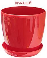 Вазон (горшок) с подставкой Глянец красный 11см, 0,8л