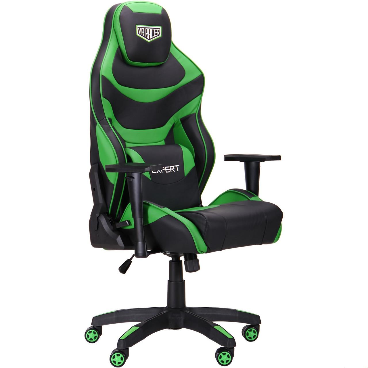 Геймерское кресло VR Racer Expert Champion черный/зеленый
