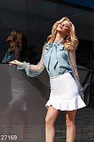 Блузка з прозорими рукавами