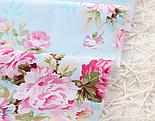 """Сатин ткань """"Розовые розы среднего размера на голубом""""  №1463с, фото 7"""