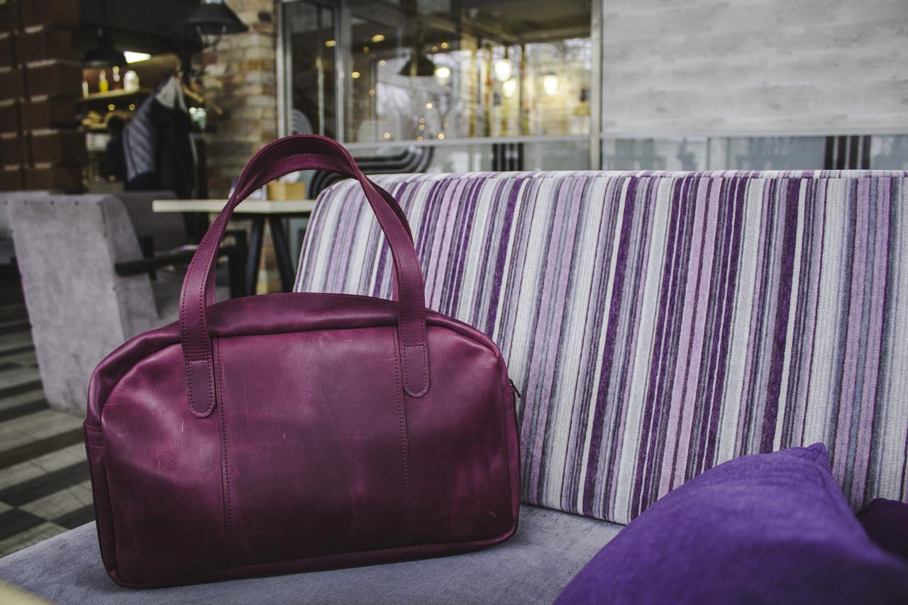 Вместительная дорожная сумка мужская, большая кожаная сумка Фиолетовый