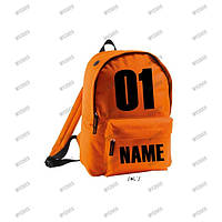 Именной рюкзак оранжевый, печать на рюкзаках