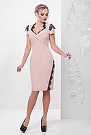 Персиковое платье с гипюром, фото 1