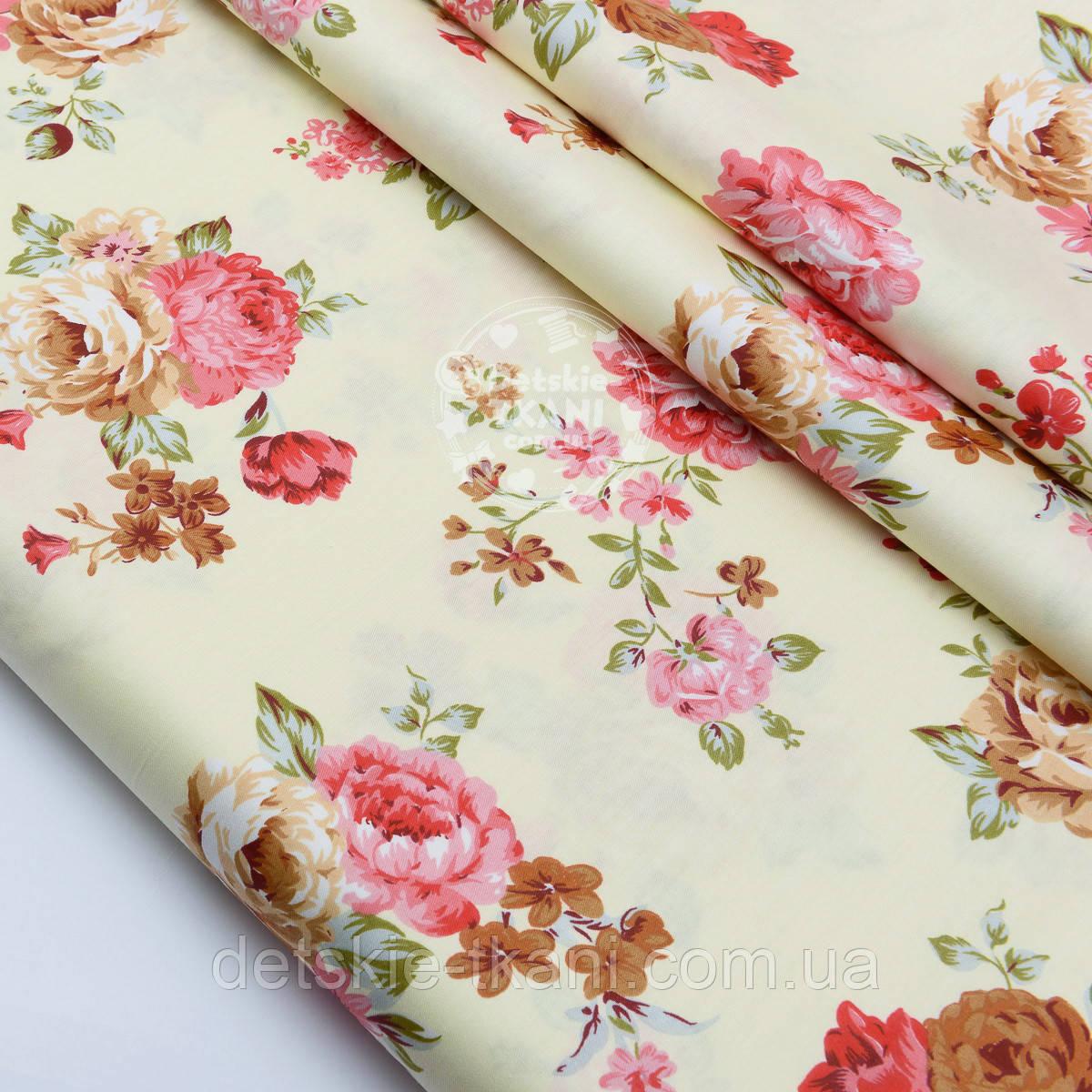 """Сатин ткань """"Большие пурпурные и коричневые розы на кремовом"""" №1469с"""