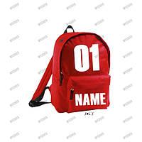 Именной рюкзак красный, печать на рюкзаках