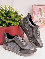 Женские кроссовки серебристого цвета 25955, фото 1