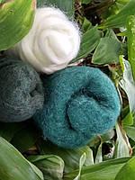 Шерсть для валяния, тонкая, 21 мкр, цвет зелёный, 50g