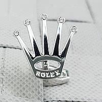 Запонки  Rolex Корона с камушками свадебные для жениха для вечеринки под серебро с короной серебристые Ролекс, фото 1