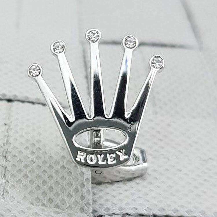 Запонки  Rolex Корона с камушками свадебные для жениха для вечеринки под серебро с короной серебристые Ролекс