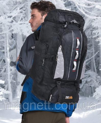 Туристический, городской, дорожный рюкзак Eveveme 90+10 литров (черный)