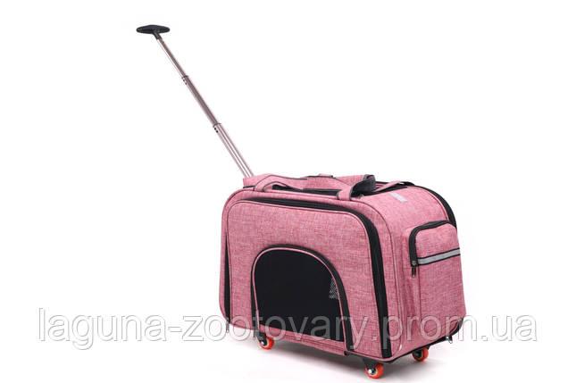 Кейс-переноска для собак и котов 60х32х46см ДоДо Пет Спейс Пинк, розовый, фото 2