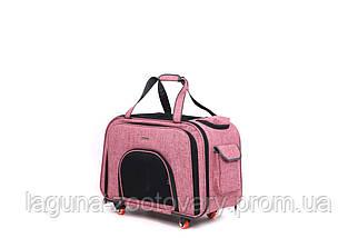 Кейс-переноска для собак и котов 60х32х46см ДоДо Пет Спейс Пинк, розовый, фото 3