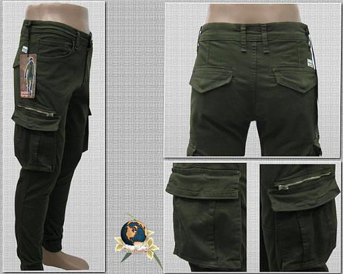 Джинсы мужские зауженные с накладными карманами Карго на манжете-резинке