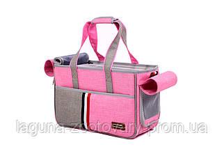 Сумка переноска для собак и котов Do do pet, Denim pink, розовый L, фото 3