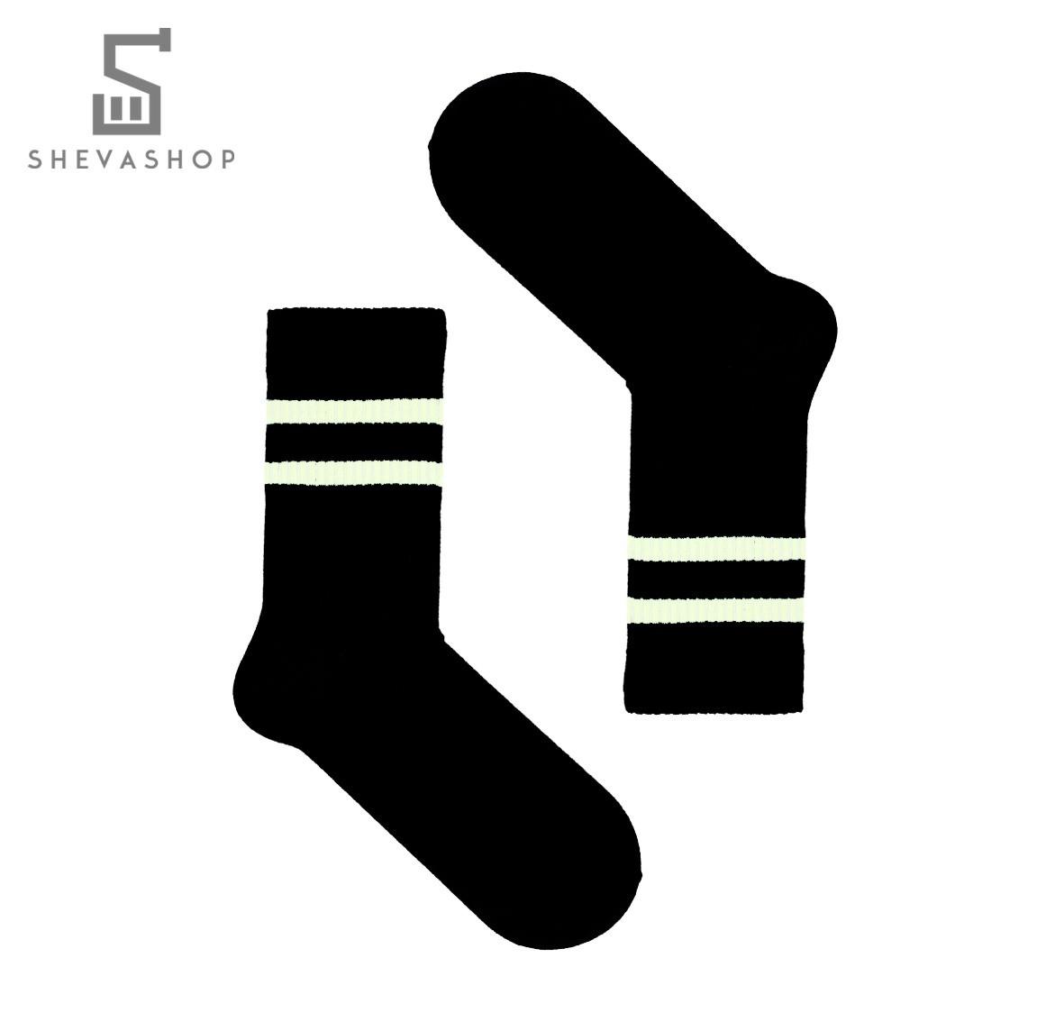Длинные носки SOX черные с белой полоской