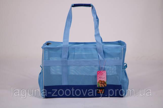 Сумка переноска 50х22х33см для собак и котов до 12кг Do do pet, Summer Blue голубой L, фото 2