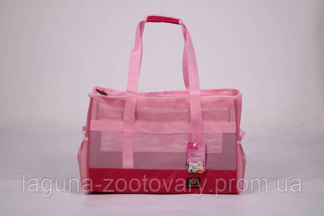 Сумка переноска 45х20х30см для собак и котов до 8кг  Do do pet, Summer Pink розовый M, фото 2