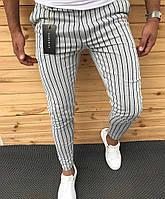Штаны мужские укороченные полосатые стильные Zara белые
