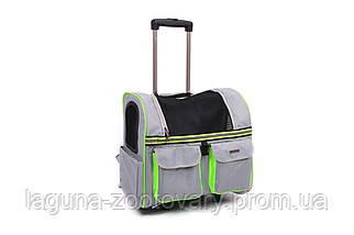 Кейс-переноска-рюкзак 45х24х45см для собак и котов до 10кг  Do Do Pet, Linno Lime серый салатовый, фото 3