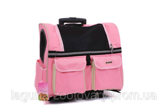 Кейс - переноска - рюкзак 45х24х45см для собак и котов до 10кг Do Do Pet  Linno Pink розовый, фото 2