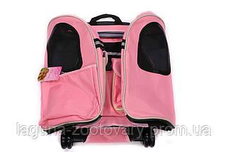 Кейс - переноска - рюкзак 45х24х45см для собак и котов до 10кг Do Do Pet  Linno Pink розовый, фото 3