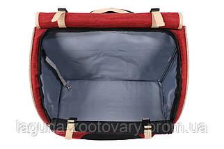 Кейс-переноска-рюкзак 44х23х44см для собак і котів до 10кг Do Do Pet, Robby Bordoux бордо бежевий, фото 3