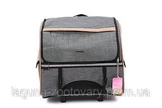 Кейс - переноска - рюкзак 44х23х44см для собак и котов до 10кг Do Do Pet, Robby Grey серый бежевый, фото 2
