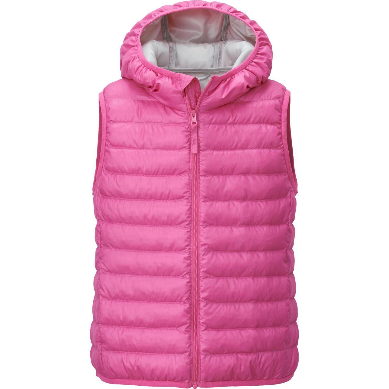 Жилетка Uniqlo girls light warm padded vest Pink