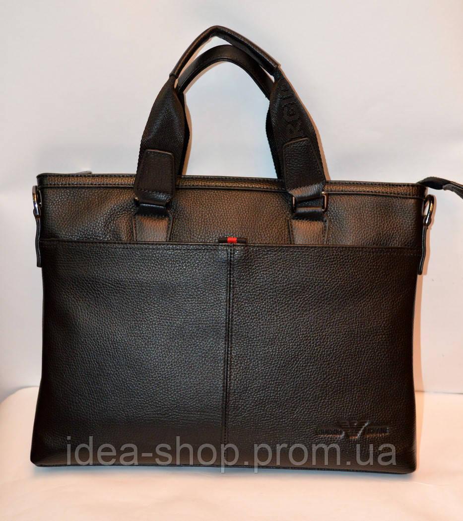 4e8bce47da5f Модный мужской кожаный портфель Armani черный - интернет-магазин