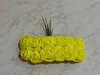 Букет розочек из латекса желтый на проволоке 12 шт