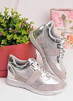 Серые кроссовки с серебристыми вставками 25948, фото 1