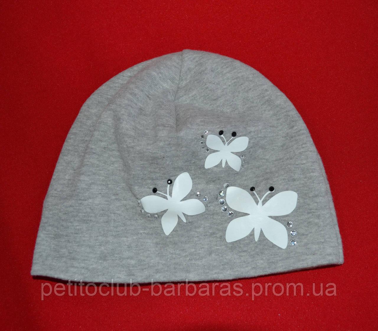 """Демисезонная хлопковая шапка для девочки """"Мотыльки"""" (р. 46,48,52) (Marika, Польша)"""