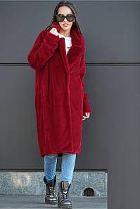 Женская шуба бордового цвета из искусственного меха кролика