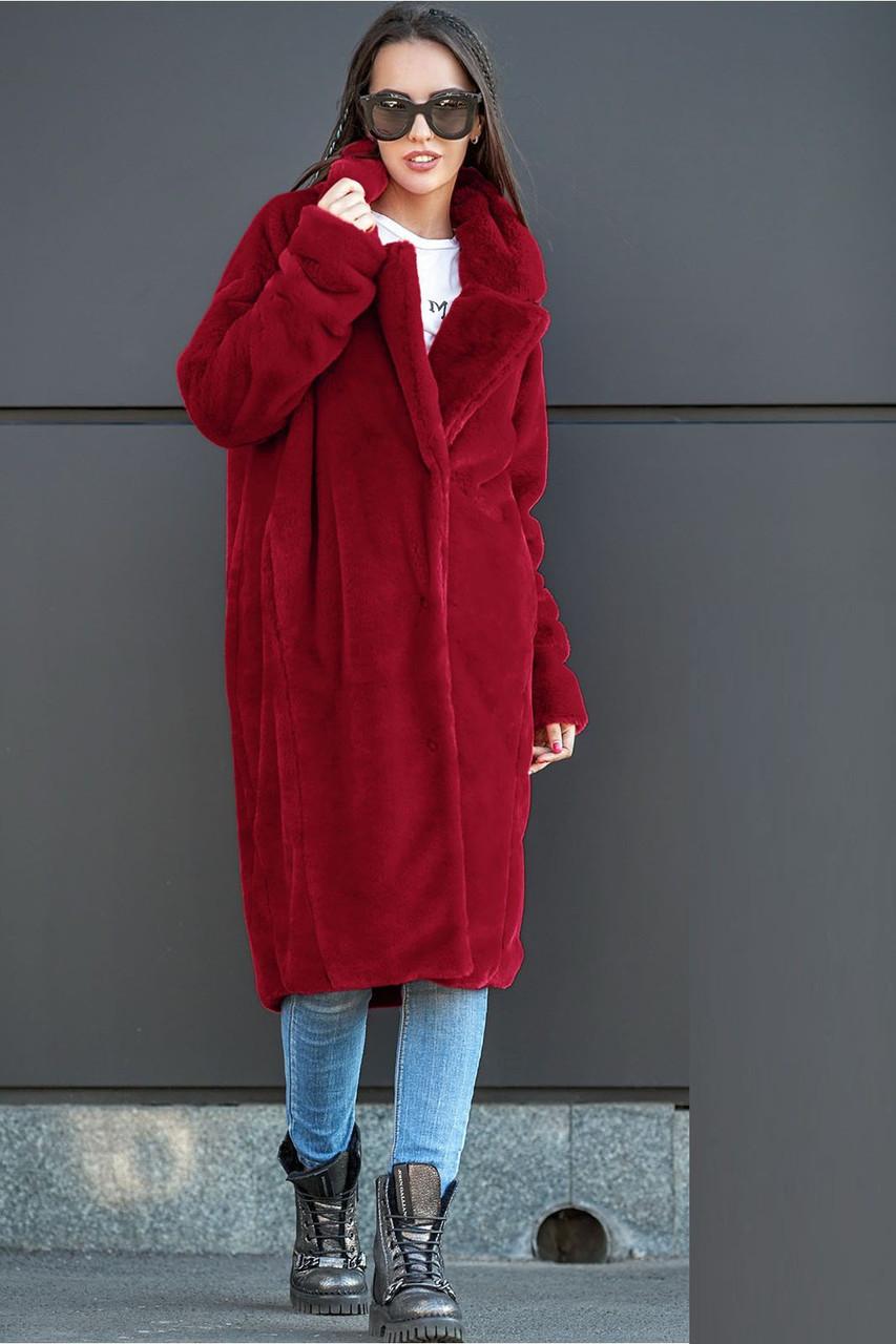 Жіноча шуба бордового кольору із штучного хутра кролика