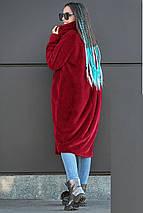 Жіноча шуба бордового кольору із штучного хутра кролика, фото 3