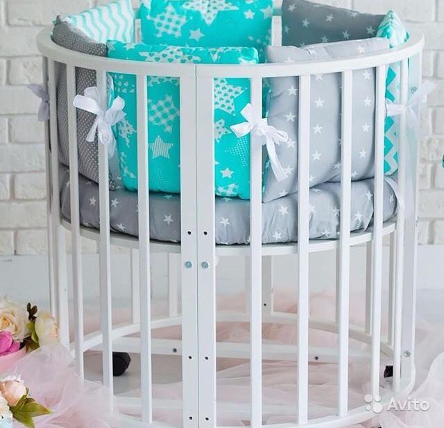 """Детская кроватка трансформер 9в1 круглая """"Луна"""" с маятником, слоновая кость"""