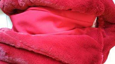 Жіноча шуба бордового кольору із штучного хутра кролика, фото 2