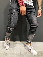 Джинсы мужские с накладными карманами и липучками