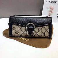 Кожаный женский кошелек Gucci Гуччи черный