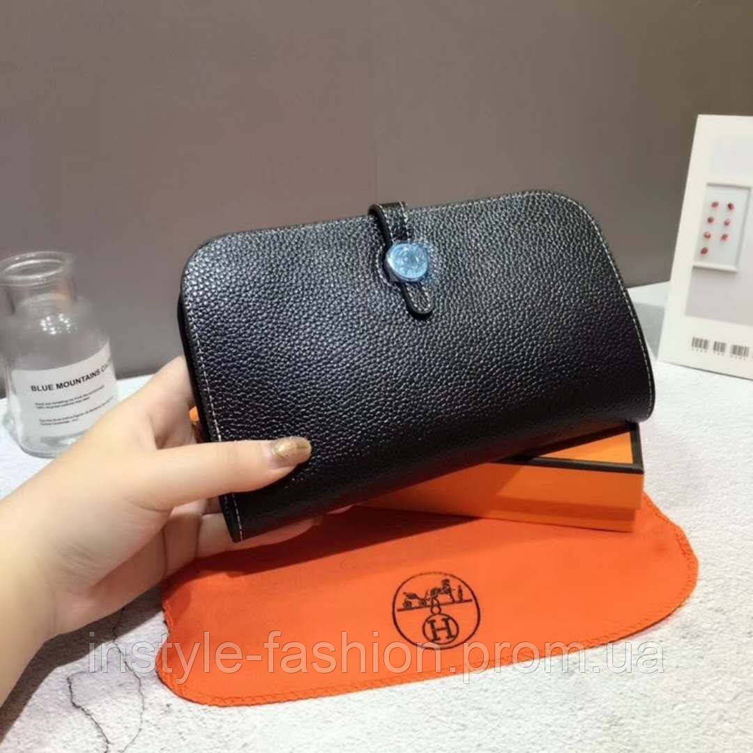 8dfc94b66bec Кожаный женский кошелек Hermes Гермес черный  купить недорого копия ...
