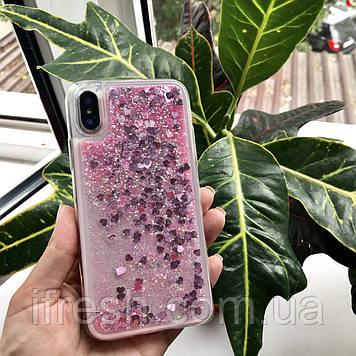 Чехол силиконовый с переливающимися блестками для iPhone X/XS, розовый
