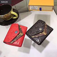 Кожаный женский кошелек Louis Vuitton Луи Виттон красный, черный