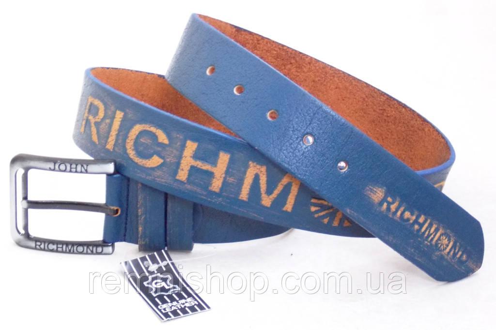 Мужской кожаный ремень John Richmond синий