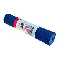 Коврик для йоги и фитнеса, TPE, 2 слоя, 6мм, синий/св.синий