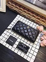 Кожаный женский кошелек Шанель Chanel черный