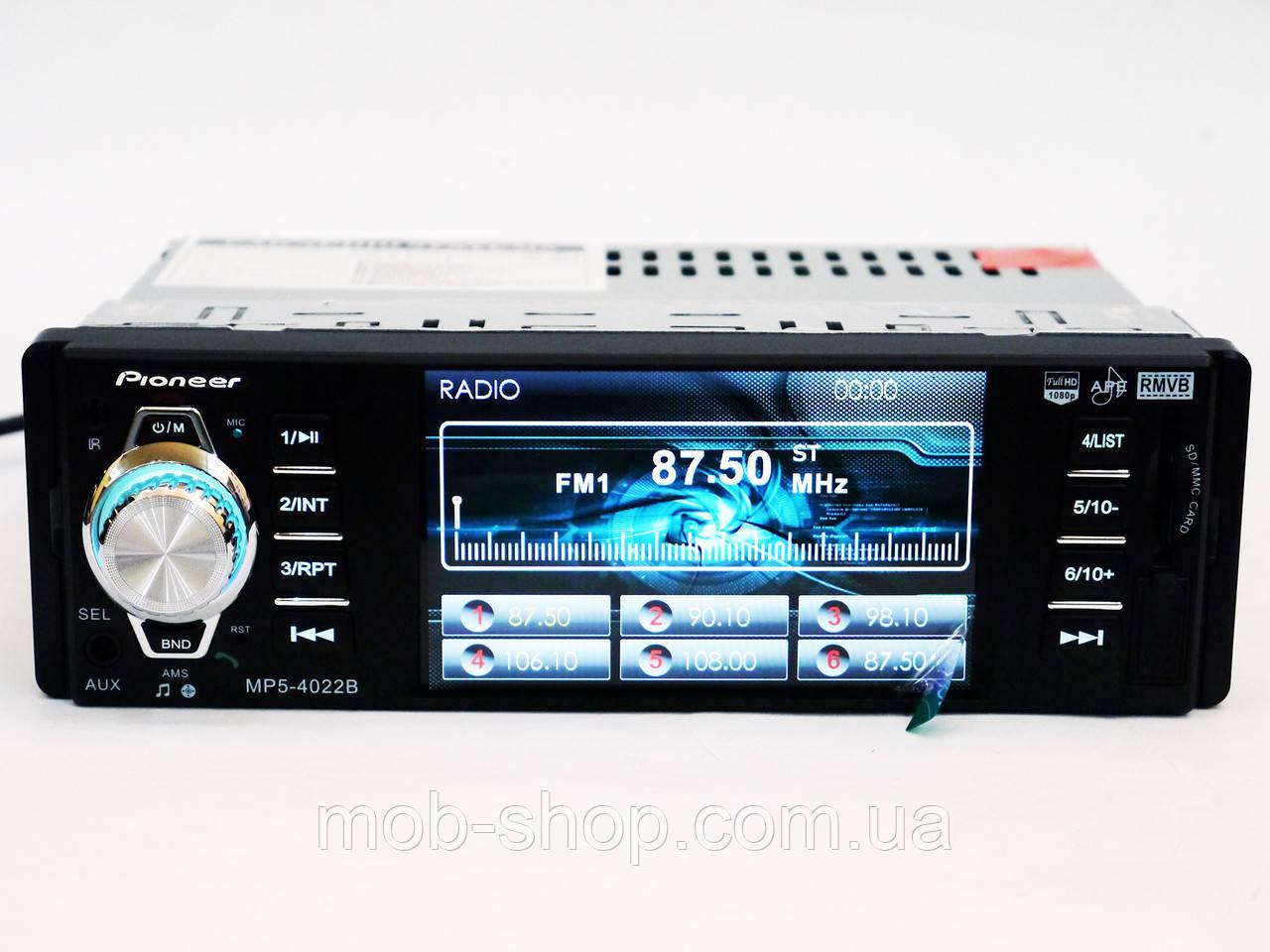"Автомагнитола пионер Pioneer 4022 экран 4""+Bluetooth+видео вход"