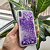 Чехол силиконовый с переливающимися блестками для iPhone X/XS, фиолетовый, фото 2