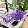 Чехол силиконовый с переливающимися блестками для iPhone X/XS, фиолетовый, фото 4