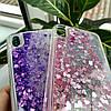 Чехол силиконовый с переливающимися блестками для iPhone X/XS, фиолетовый, фото 6