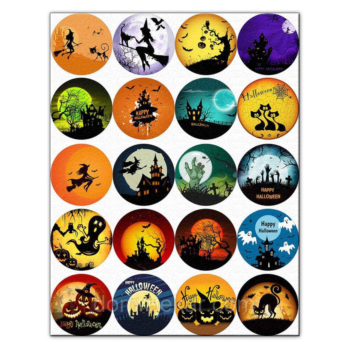 Капкейки-5 см Хеллоуин-1 вафельна картинка